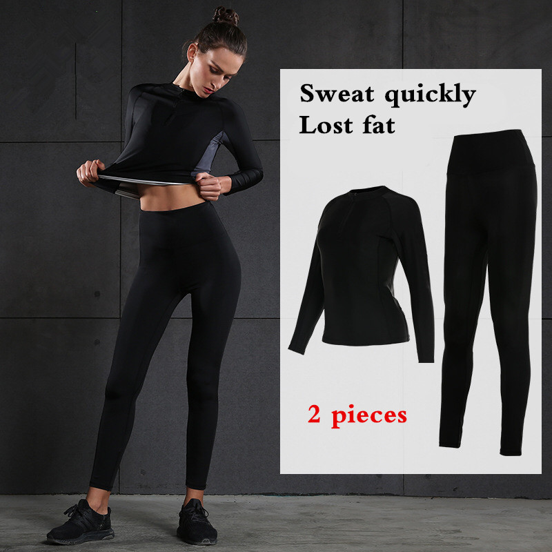 Women Yoga Sets Gym Running Sports Fitness Suit Lady Tight Clothing Breathable Quick Dry Sportswear Tracksuit Lose Fat