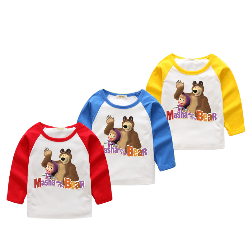2018 Children New Cartoon Masha And The Bear Printing T-shirt Kids Long Sleeve 3D Print Tee Tops Clothes Boy Girl Tshirts CX005 2017 baby new batman printing clothes boy cartoon t shirt girl 9 colors t shirt children short sleeve tee tops for kids acy031