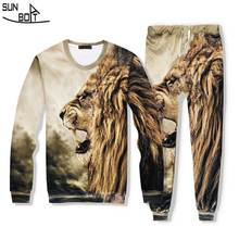 3D Printed Lion Head Sweater And Pands Two Pieces Suit High Quality Casual Clothing Men/Women Suitable For Spring Autumn Winter