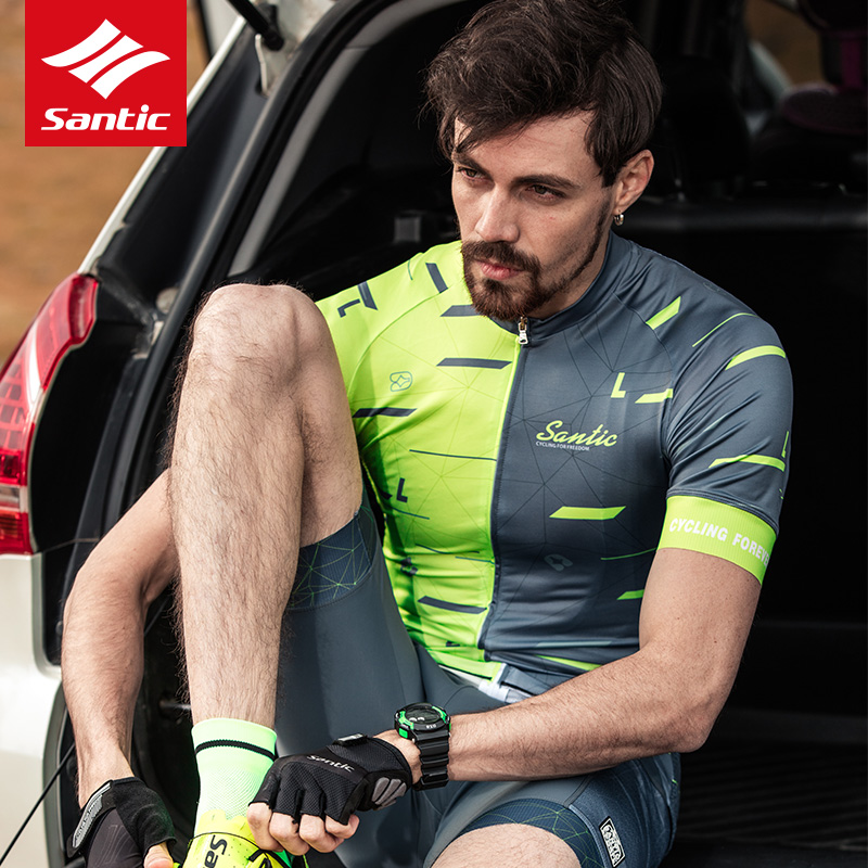 Santic Men Cycling Short Sleeve Jersey Summer Riding Tops Quick-drying Sleeve
