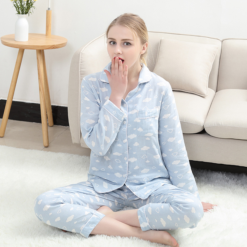 Image 3 - Kawaii pink cloud print pijamas for women pajamas sets 100% gauze cotton cozy long sleeve 2 piece pyjamas mujer fresh sleepwear-in Pajama Sets from Underwear & Sleepwears