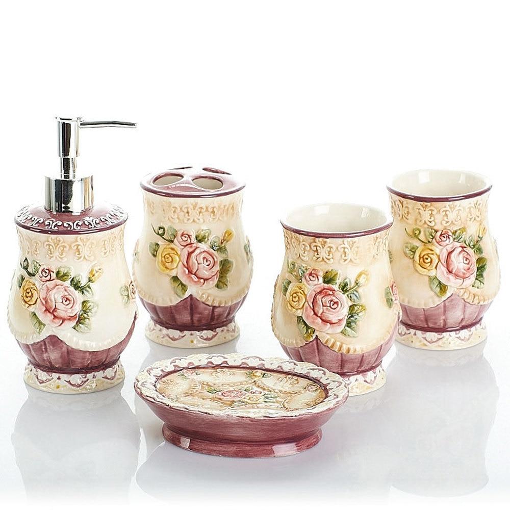 Bathroom supplies ceramic bathroom ware wash five-piece bath set suit wash kit ware embossed rose lo881050 simple bathroom ceramic wash four piece suit cosmetics supply brush cup set gift lo861050
