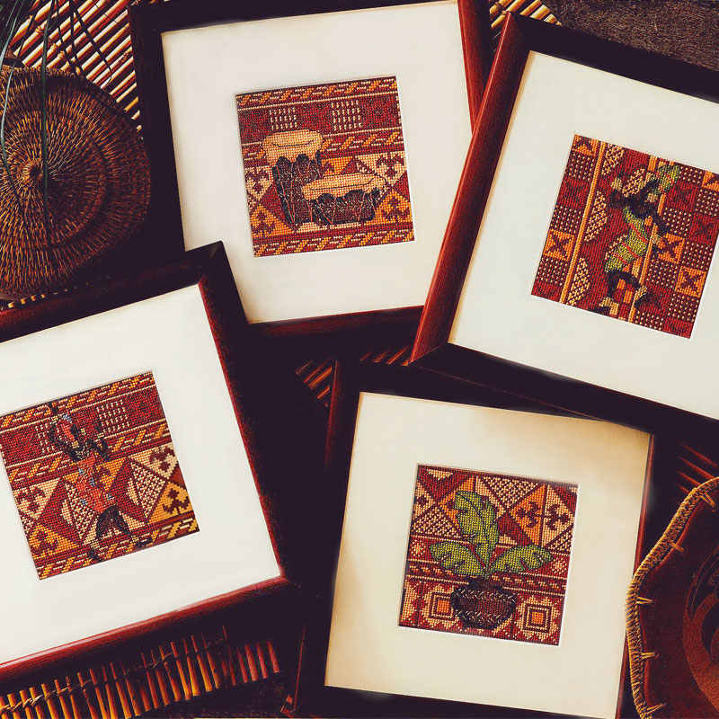 Fishxx Cross Stitch Kit Crazy52-1 African Style Four Patterns Geometric Patterns DIY
