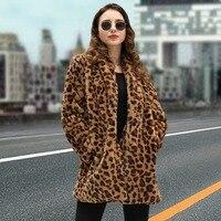 2018 New Leopard Print Fur Coat Luxury Women Winter Warm Fur Jacket High Quality Thicken Teddy Coat Female Faux Fur Long Coat