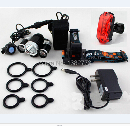 Hot Sale 3X CREE XML T6 LED Headlamp Bike Light 5000 Lumen 18650 LED Head Light + 4x18650 battery pack+charger+bike rear light