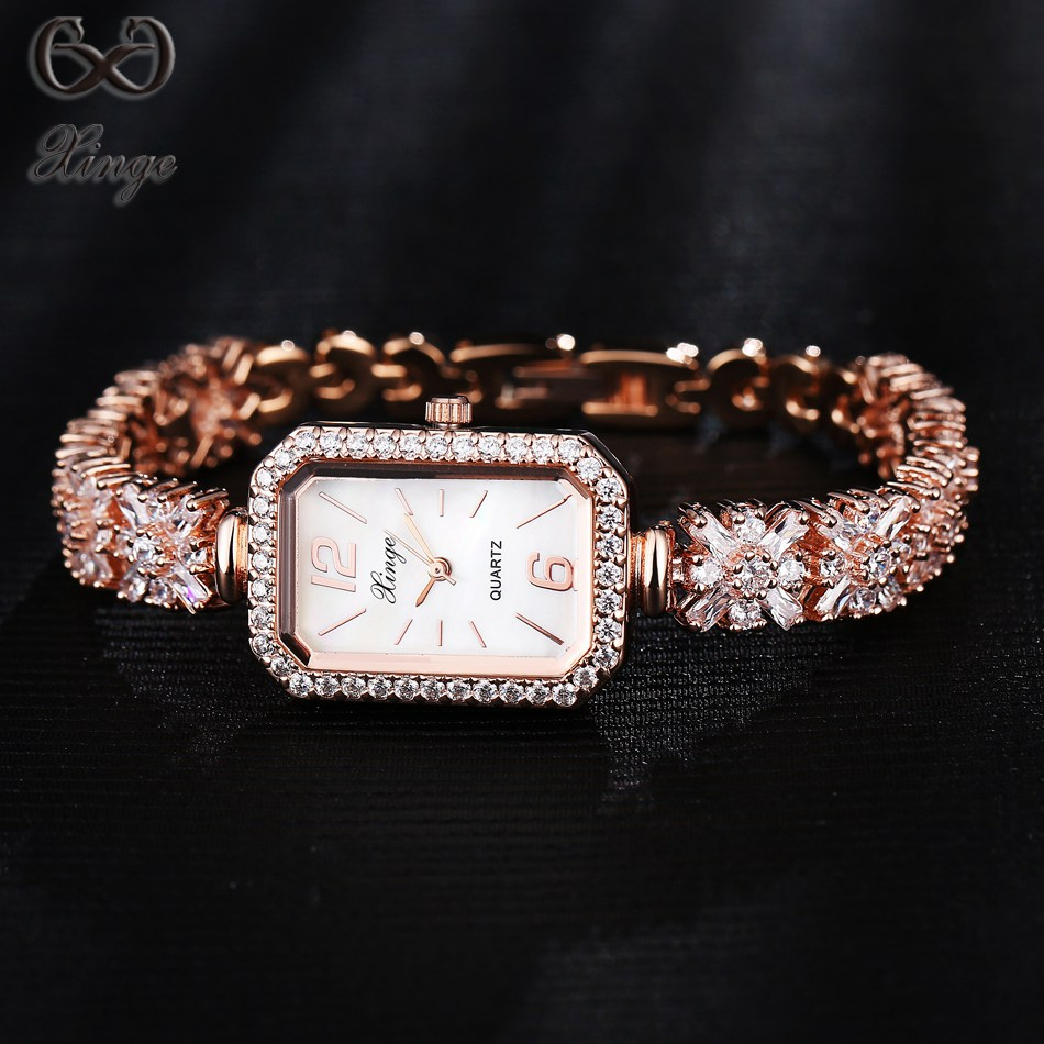 Xinge Brand 2017 Quality Luxury Fashion Ladies Rose Gold Zircon Crystal Bracelet Women's Watches Ladies Quartz-Watch Dress Clock xinge brand fashion women quartz watches crystal zircon bracelet ladies watches luxury ladies clock relogio xg1003
