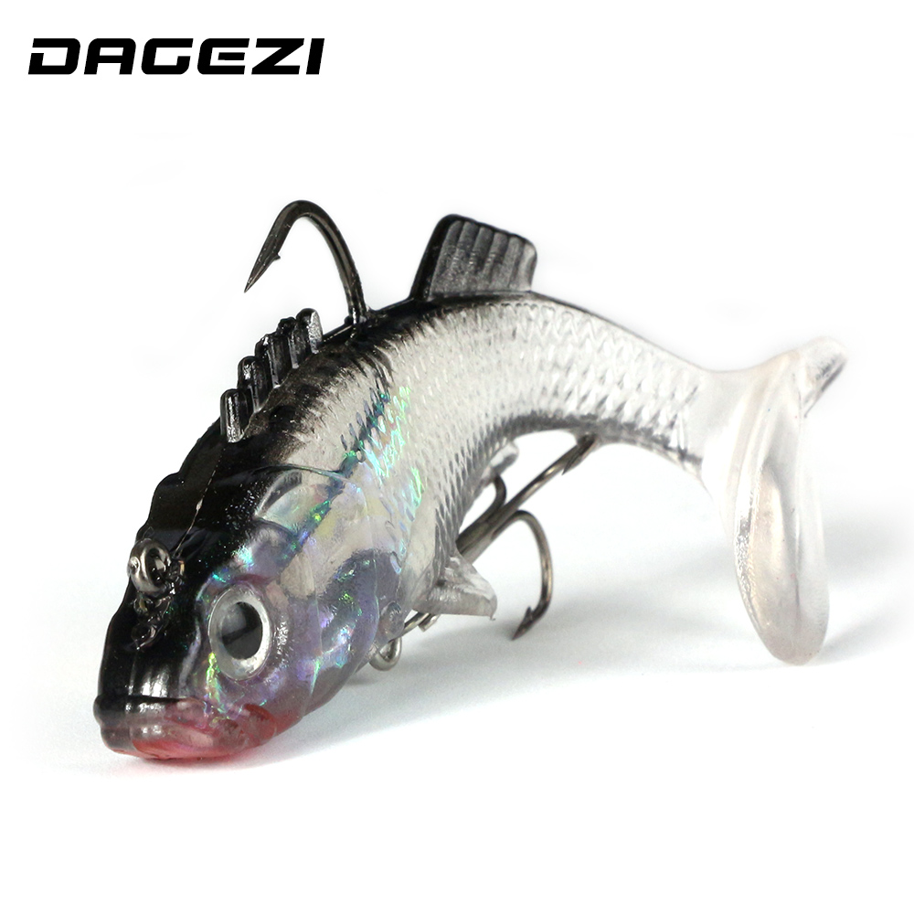 DAGEZI Gray Soft Lure 8cm/16g 3D Eyes Lead Fishing Lure Soft Lure With Hook Artificial Bait Jig Wobblers Rubber цена 2017