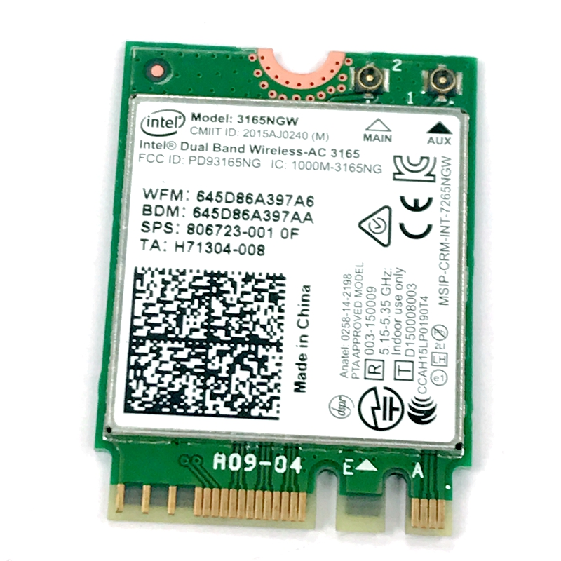 Original formal edition Intel AC3165 <font><b>3165NGW</b></font> NGFF dual-band wireless card Bluetooth 4.0 433M 3165ac for HP probook 430 440 450 image
