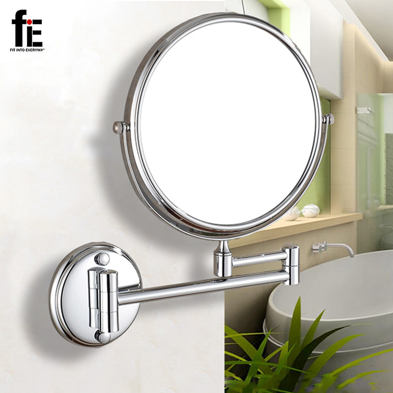 fiE 8 Inches Wall Mounted Extending Folding Mirror Adjustable Distance Double Side Cosmetic Make up Bathroom Mirror silver extending 8 inches cosmetic wall mounted make up mirror shaving bathroom mirror 5x magnification