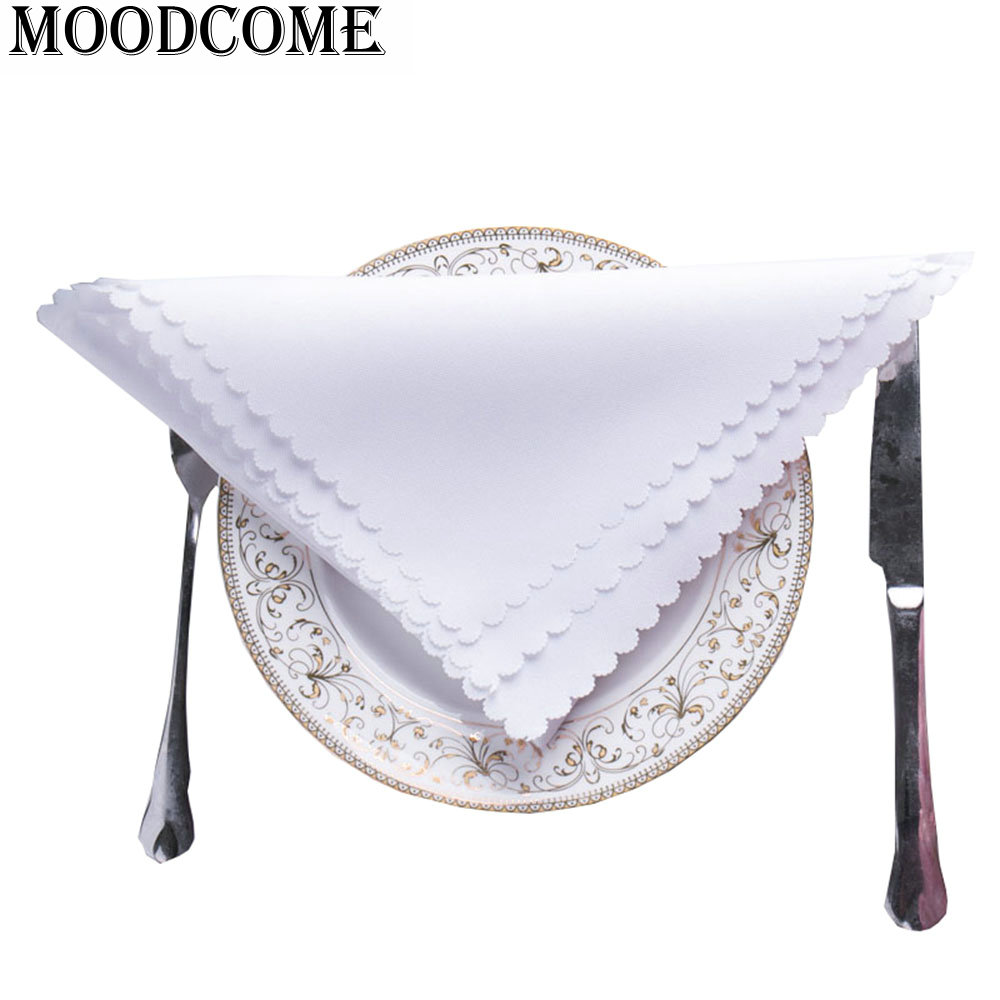 5pcs/lot white Dinner Napkin Cloth For Hotel Restaurant Solid Square Table Wedding white Napkins
