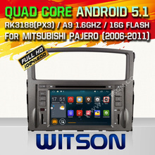 WITSON Android 5.1 CAR DVD PLAYER WITH GPS for MISUBISHI PAJERO CAPACTIVE HD 1024X600 Screen 16GB Rom+ Free Shipping  Free map