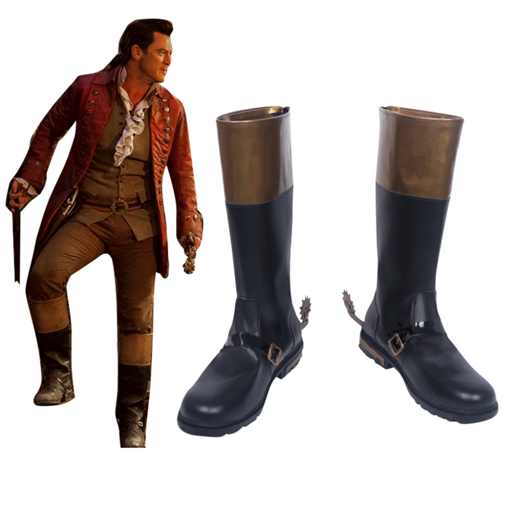 Movie Beauty And The Beast Gaston Leather Cosplay Shoes Boots Men s Superhero Halloween Carnival Party