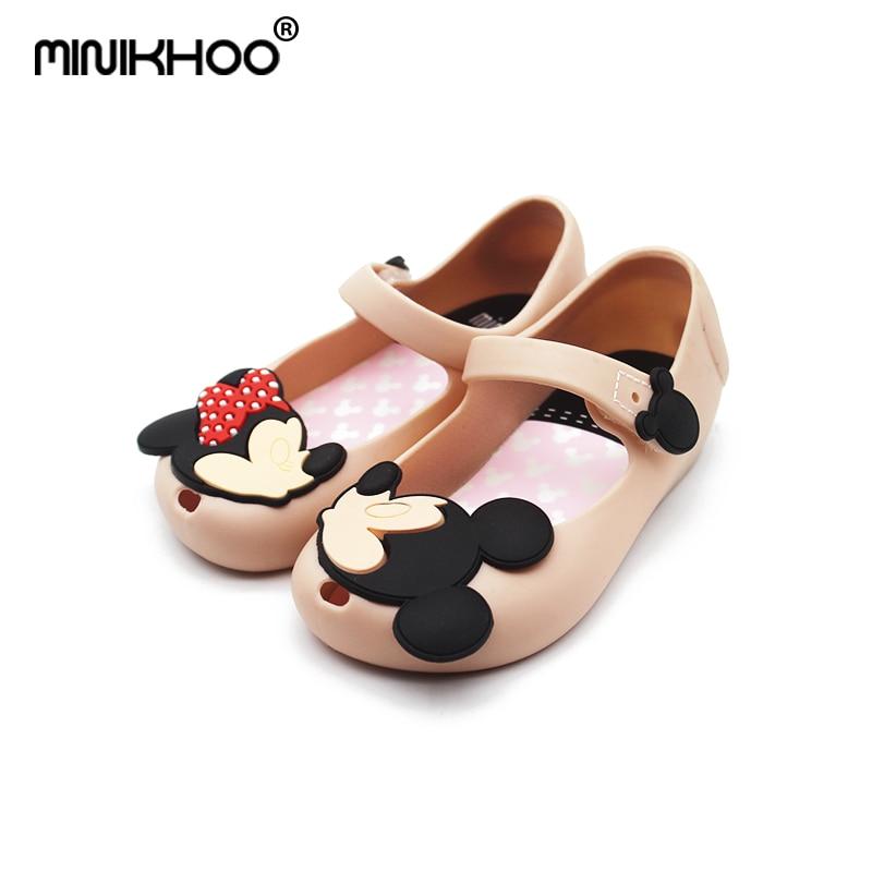 Mini Melissa 2018 Mickey Mimi Jelly Shoes Princess Soft Bottom Children Cartoon Fishtail Sandals Non-slip Shoe Shoes