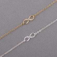 Kinitial quente infinito número 8 corrente pulseira cz infinity pulseiras para mulheres masculino amizade pulseiras boêmio charme jóias