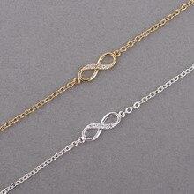 Kinitial Hot Infinity Number 8 Chain Bracelet CZ Infinity Bracelets for Women Men Friendship Bracelets Bohemian Charm Jewelry