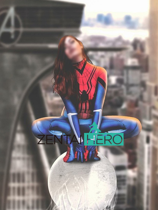 Free Shipping 3D Printing Lady Mayday Homecoming Superhero Costume The Spider-Girl Cosplay Costume Spiderman Unitard Catsuit