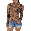 Totem Printed Perspective Rompers Womens Jumpsuit Turtleneck Long Sleeve Sexy Bodysuit Women Slim Fit Elegant Playsuits Shorts