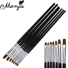 7 Size Nail Art Flat Top Paint Brush Set Acrylic Gel Polish Extension Builder Coating 3D Petal French Grids Line DIY Drawing Pen
