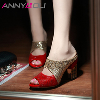 ANNYMOLI Summer Slipper Women Shoes Bling Spike High Heels Shoes Sexy Crystal Peep Toe Slides Sandals Female Red Plus Size 34 43