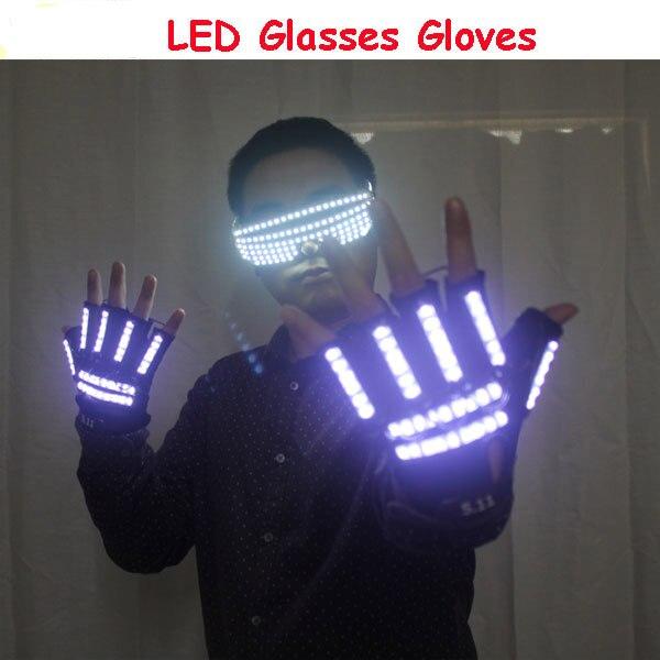 LED Light Emitting Costumes LED Luminous Glasses Gloves Stage Props For Children Birthday Gift led light emitting costumes led luminous