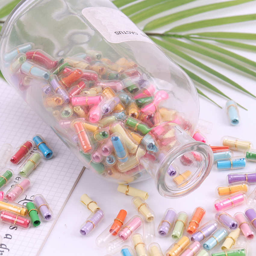 50PCS Mini Creative Love Message Letter Capsule Mini Gift Box Transparent Wish Bottle With Paper Student Stationery