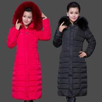 2014 Winter Jacket Women Elegant Ultra Large Fur Collar X Long Down Cotton Padded Jacket Women