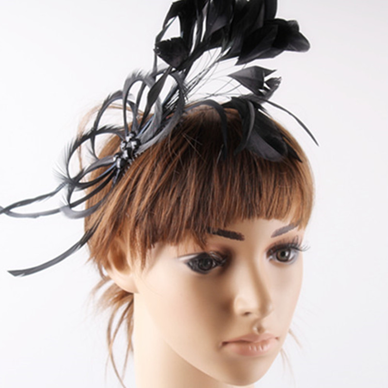 Black feather fascinator hats fashion feather hair accessories feather with pearls decoration Very nice Free shipping MSF062