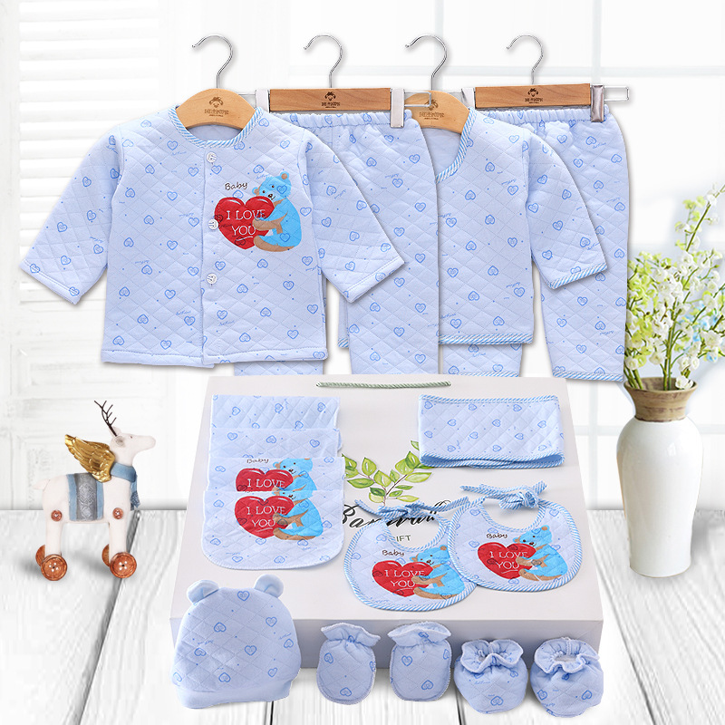 цены 2018 New 100% Cotton Banjvall Baby clothes set New born 0-6 Months Thick Girls Boys Infants Clothing Baby Gift Set High quality