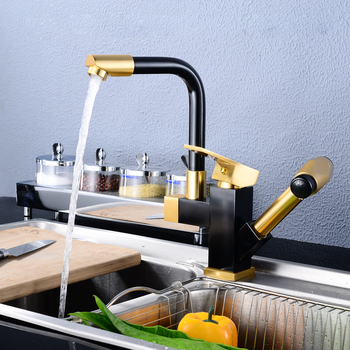 Space aluminum kitchen pull faucet hot and cold rotating black gold tank faucet LU5042