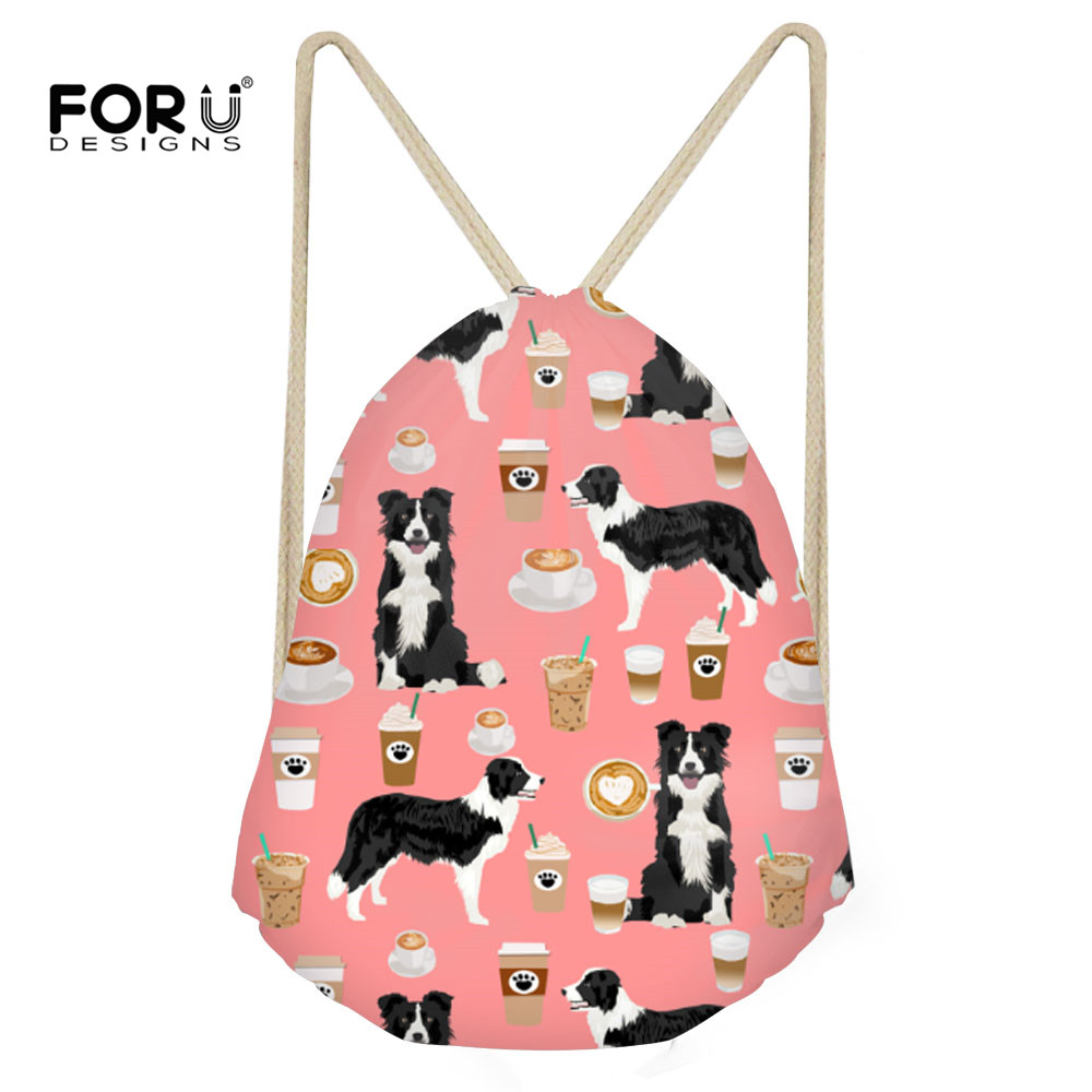 FORUDESIGNS Drawstring Backpack Border Collie Printing Kids Girls Drawstring Bags Storage Travel Softback Beach Sack Mochila