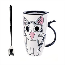 Cat Ceramic Mug with Spoon
