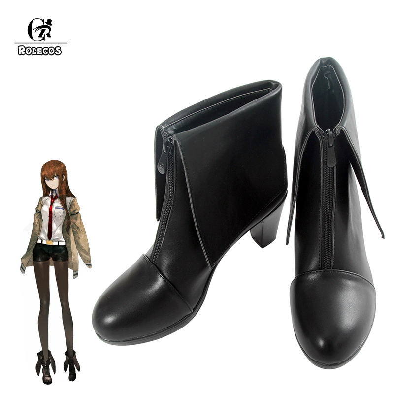 ROLECOS Game Anime Steins Gate Cosplay Shoes Makise Kurisu Steins Gate 0 Cosplay Costumes Shoes Leather