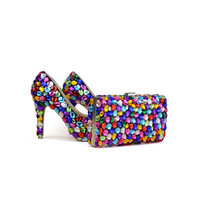 2017 Mix Color Blue Green Yellow Purple Wedding Party Shoes With Clutch 4 Inches High Heel
