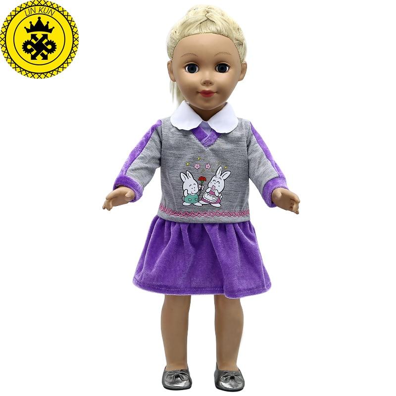 Doll Accessories American Girl Doll Clothes Rabbit Purple School Uniform Dress for 16-18 inch Dolls boneca american girl MG-293 handmad 18 inch american girl doll clothes princess anna dress fits 18 american girl doll mg 032