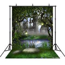 Forêt château lac contes de fées photographie décors vinyle tissu arrière plans pour Studio Photo enfants bébé douche Photophone