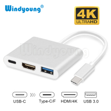 USB C HUB HDMI Adapter For Macbook Pro, Windyoung USB Type C Hub to Hdmi 4K USB 3.0 Port With USB-C Power Delivery  3-in-1 HUB цена