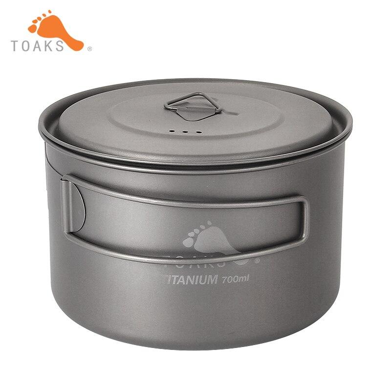 TOAKS 700ml Pot en titane ultra-léger en plein air Camping tasse en titane avec couvercle et poignée pliée