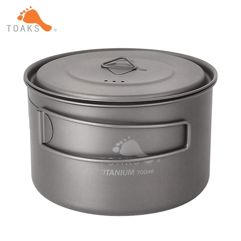 TOAKS extérieur Camping titane tasse 700 ml ultra-léger en titane Pot avec couvercle et poignée pliée POT-700-D115-L