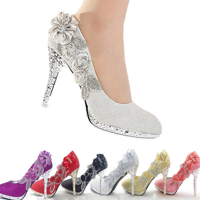 f31e1cc43a1 2014 Glitter Gorgeous Wedding Bridal Evening Party Crystal High Heels Women  Shoes Sexy Woman Pumps Fashion Bridal Shoes 6 color