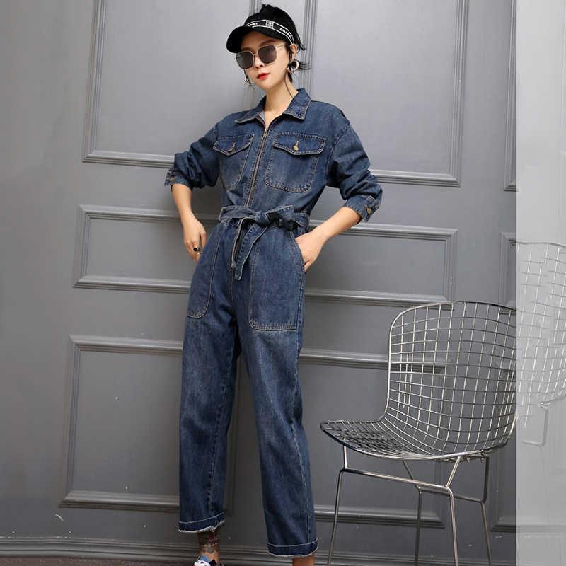 Винтаж промывают джинсовые комбинезоны для малышек для женщин s комбинезон с Высокая талия 2019 Новинка весны длинным рукавом на молни