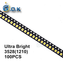 100pcs Ultra Bright 3528 LED SMD chip 3528 White Chip Surface Mount 20mA Light-Emitting Diode LED 1210 SMT Bead Lamp 7-8LM