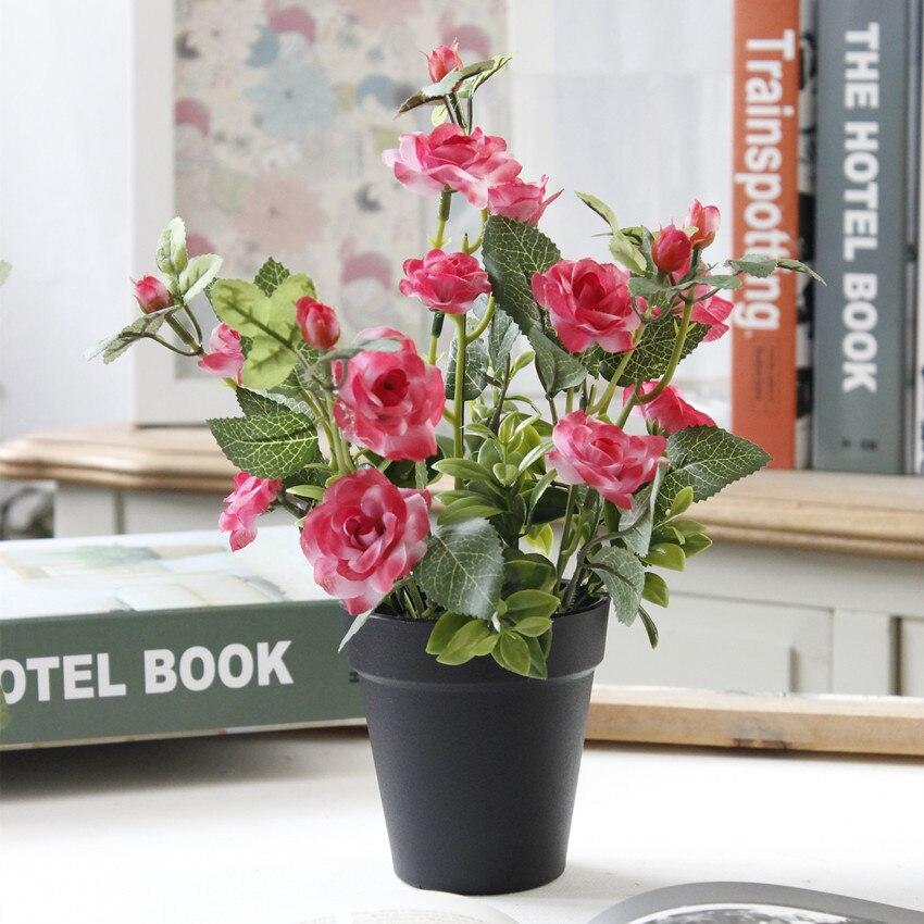 1 Set Mini Künstliche Blume Gefälschte Rose Silk Blumen Blumenerde Bonsai Für Hochzeit Home Party Dekorative 4 Farben