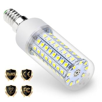 цена на E14 LED 25W 220V LED Candle Light Bulb 5730 SMD 5W 7W 9W 12W 15W 20W LED Corn Lamp 240V bombillas led E27 para el hogar SMD 2835