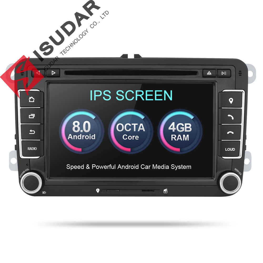 Isudar Car Multimedia player 2 Din Car Radio GPS Android 8.0 Autoradio For VW/Volkswagen/POLO/Golf/Skoda/Octavia/Seat/Leon DSP isudar car multimedia player gps android 8 0 for vw golf tiguan skoda fabia rapid seat leon dsp canbus car radio 1 din fm wifi