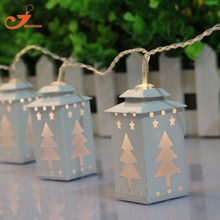 metal white lantern light tree string light fairy holiday led light Christmas garden light battery powered  party 3V AA indoor