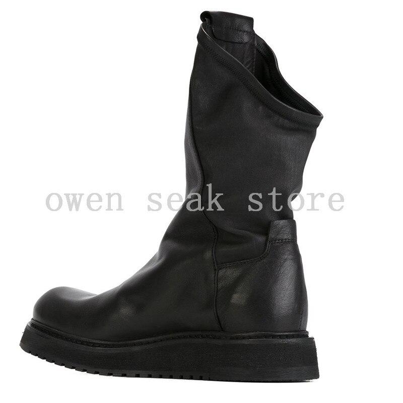 Owen Planos Hombre Nieve Lujo Zip De Zapatillas Altas no Casual Marca Zapatos Genuino Cuero Botas Para Invierno Deporte Felpa Tobillo Seak Plush Plush Y5HEqwqc7x