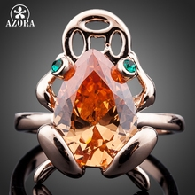 AZORA Sparkling Rose Gold Plated Big Pear Cut Citrine Zircon Fancy Jewelers Frog Ring TR0103