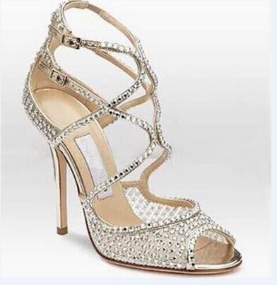 ФОТО Fashion Silver Sandals Rhinestone Thin Heel Women High Heels Both Ankle Buckle Cover Heel Peep Toe Sexy Pumps Dress Free Ship