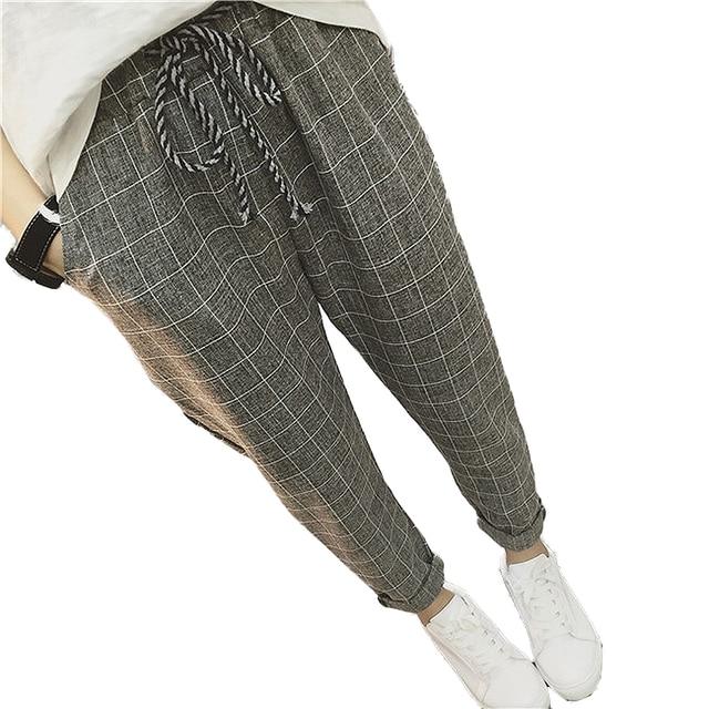 d44dcc560c5 2019 New summer Casual Loose Harem Pants Cotton Linen Plaid Capris Grid  women pants Spring trousers
