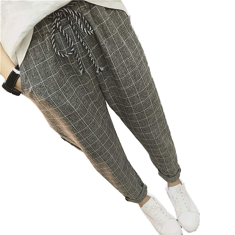 2019 New summer Casual Loose Harem   Pants   Cotton Linen Plaid   Capris   Grid women   pants   Spring trousers women sarouel femme